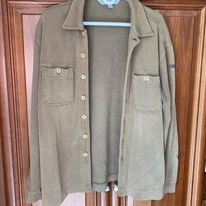 QUICKSILVER army green button thick shirt medium
